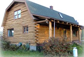 Log Home After Corn Blasting
